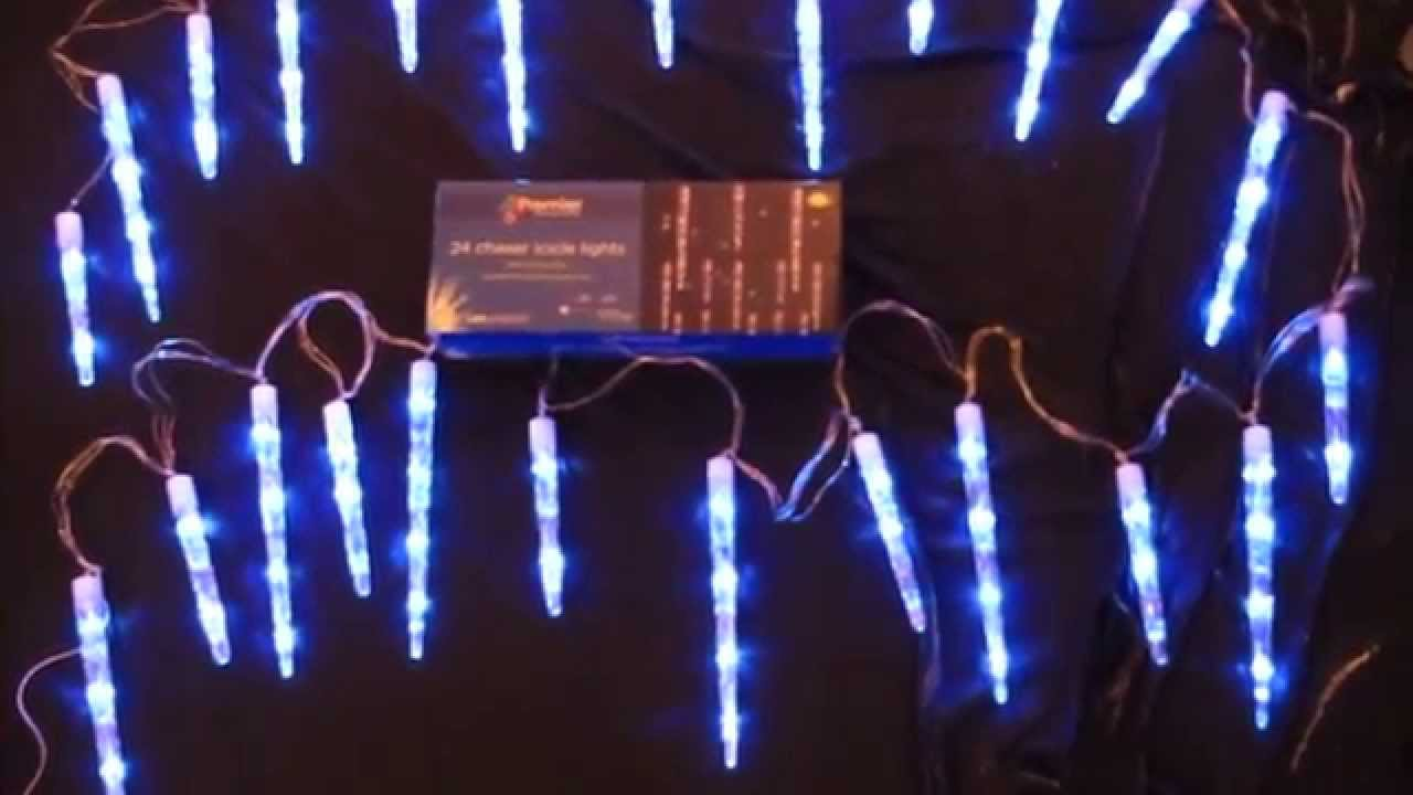 premier lv081336b ice blue 24 chaser icicles lights with 72 blue leds - Chaser Christmas Lights