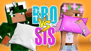 BROTHER VS SISTER - PILLOW FIGHT! Minecraft w/ Little Kelly
