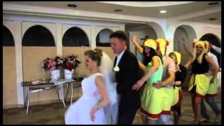 Свадьба Анастасии и Максима Ермолаева танец молодых с курочками и петушками