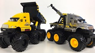 ADVENTURE FORCE 6X6 CONSTRUCTION VEHICLE MIGHTY MACHINES DUMP TRUCK & TOW TRUCK AT JOBSITE- UNBOXING