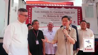 H.E. Luis Antonio G. #TAGLE blesses the two mobile medical clinics #MakeSadEyesSmile