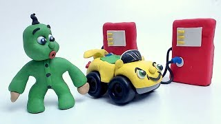 Green Baby BUY NEW CAR - Clay & Play Doh Stop Motion Cartoons For Kids