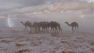 شاهد قوة العصف البردي المهول شمال الرياض ، السعودية  - الاول من شهر رمضان المبارك