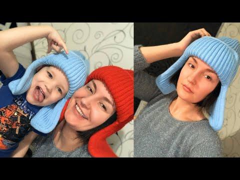 Вязание шапки ушанки спицами