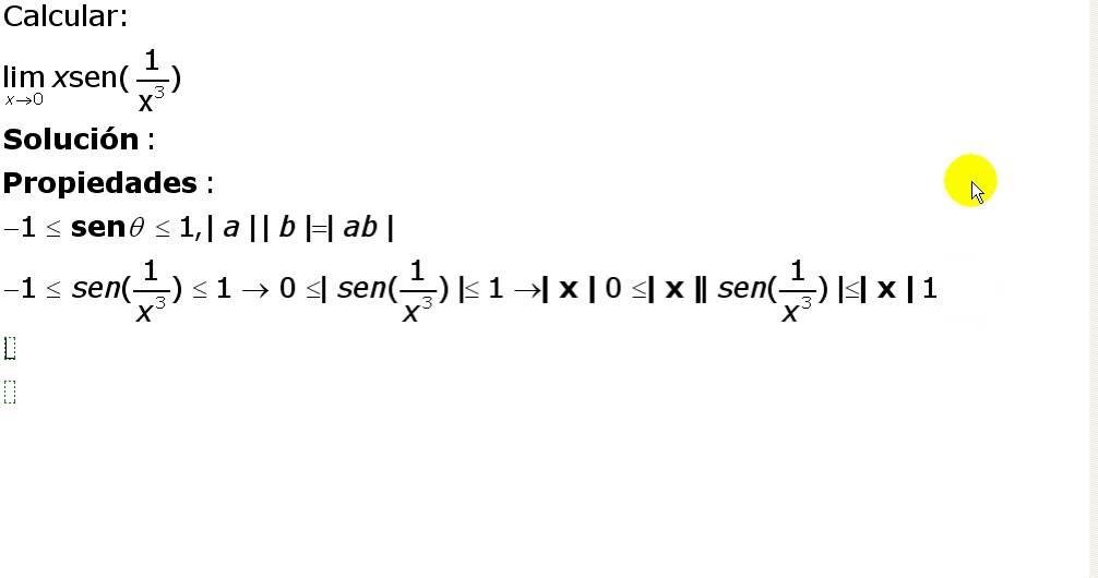 Límites Teorema Del Sandwich Ejercicio 1 Youtube