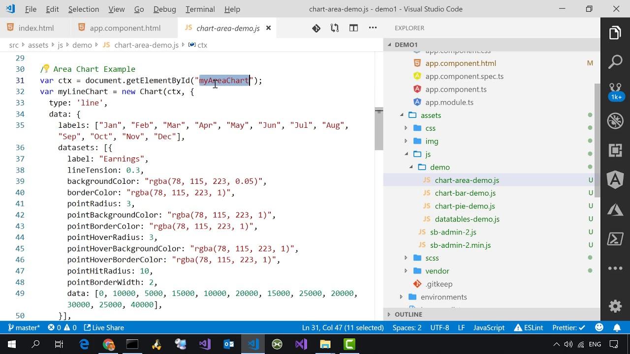 示範 SB Admin 2 靜態網頁版型轉成 Angular 應用程式的過程 - YouTube