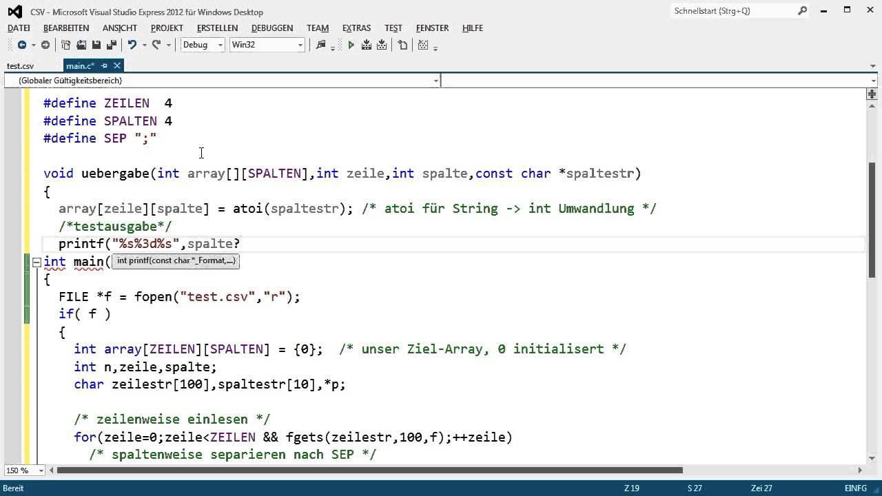 C-Programmierung: CSV-Reader