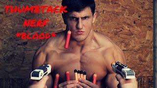BODYBUILDER VS THUMBTACK NERF | Challenge Gone Wrong BLOOD |  Nerf Gun Needle Shots Fail