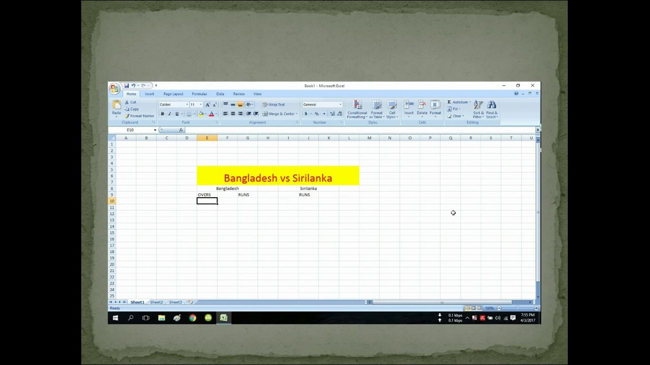 How To Make Cricket Score Chart by Microsoft Excel
