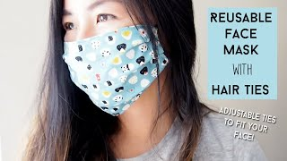 Sew Face Mask with Elastic Hair Ties Sewing Tutorial Reusable Adjustable Straps Sew Easy Please