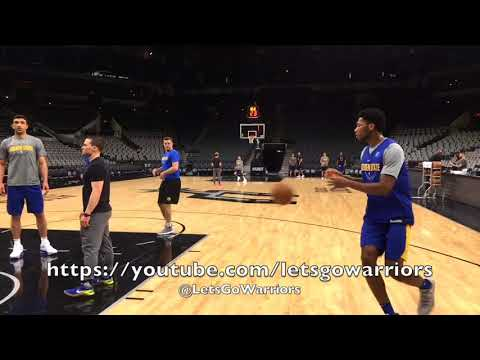 Steph Curry half-court exercises and cuts, from San Antonio after practice day before Game 3