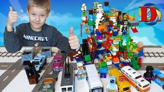 Городской транспорт и поезда для детей и набор Майнкрафт / Собираем конструктор Minecraft