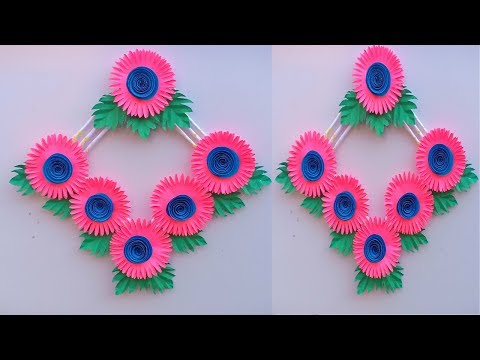 DIY PAPER FLOWER WALL HANGING/DIY ART AND CRAFT/EASY WALL DECORATION IDEAS