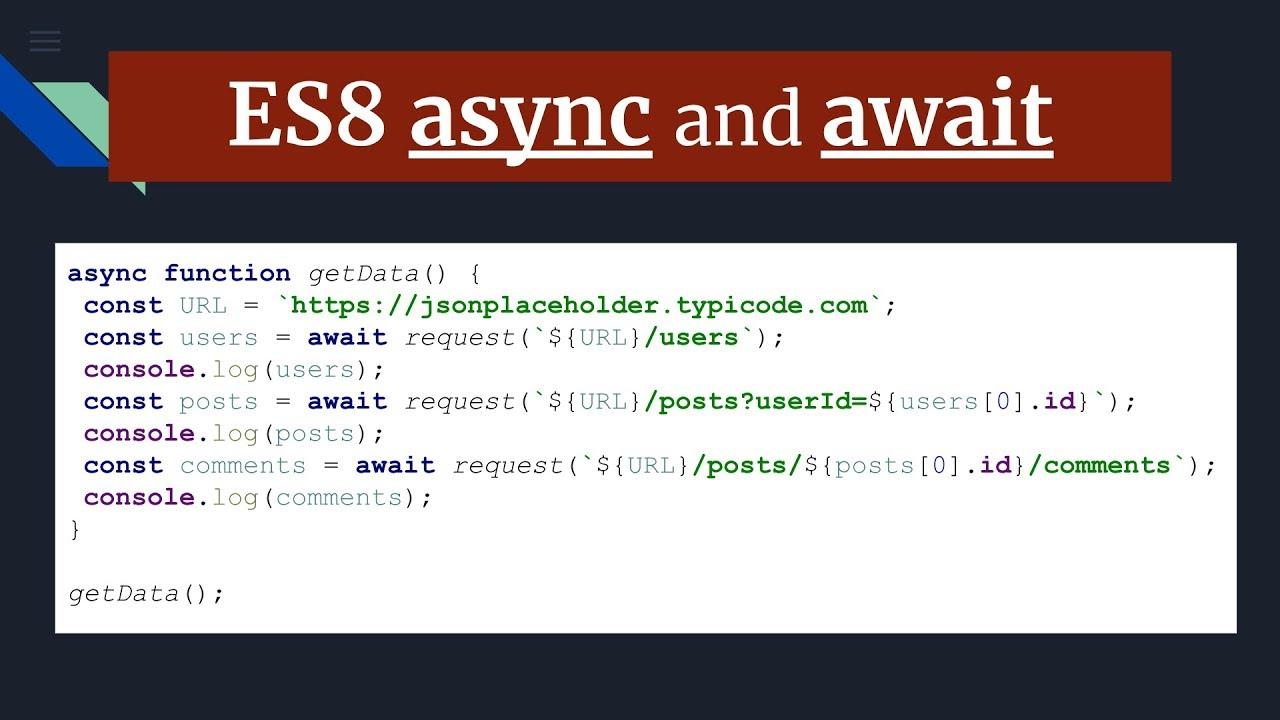 ES8 async and await keywords   asynchronous javascript part 4