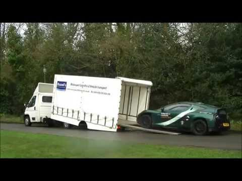 Covered Car Transport - RUSSELLS TRANSPORT Loading a Delta E4 Coupe Electric Car
