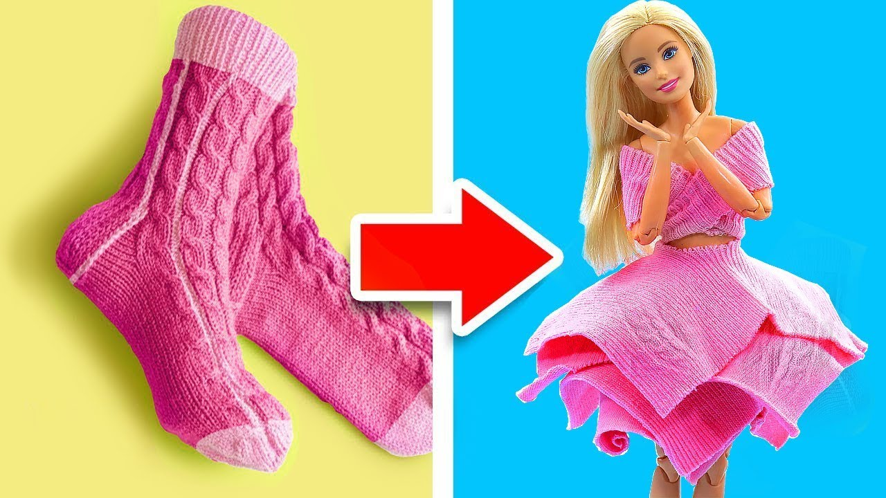Download DIY BARBIE HACKS AND CRAFTS: Making Easy Clothes for Barbies Doll From Old Socks #2