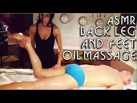 💆 Italian Girl soft back legs calves and feet Massage - ASMR video