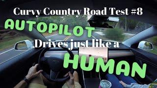 Tesla Autopilot   2019.32.12.2 DRIVES LIKE A HUMAN!   Curvy Country Road Test #8   Model 3