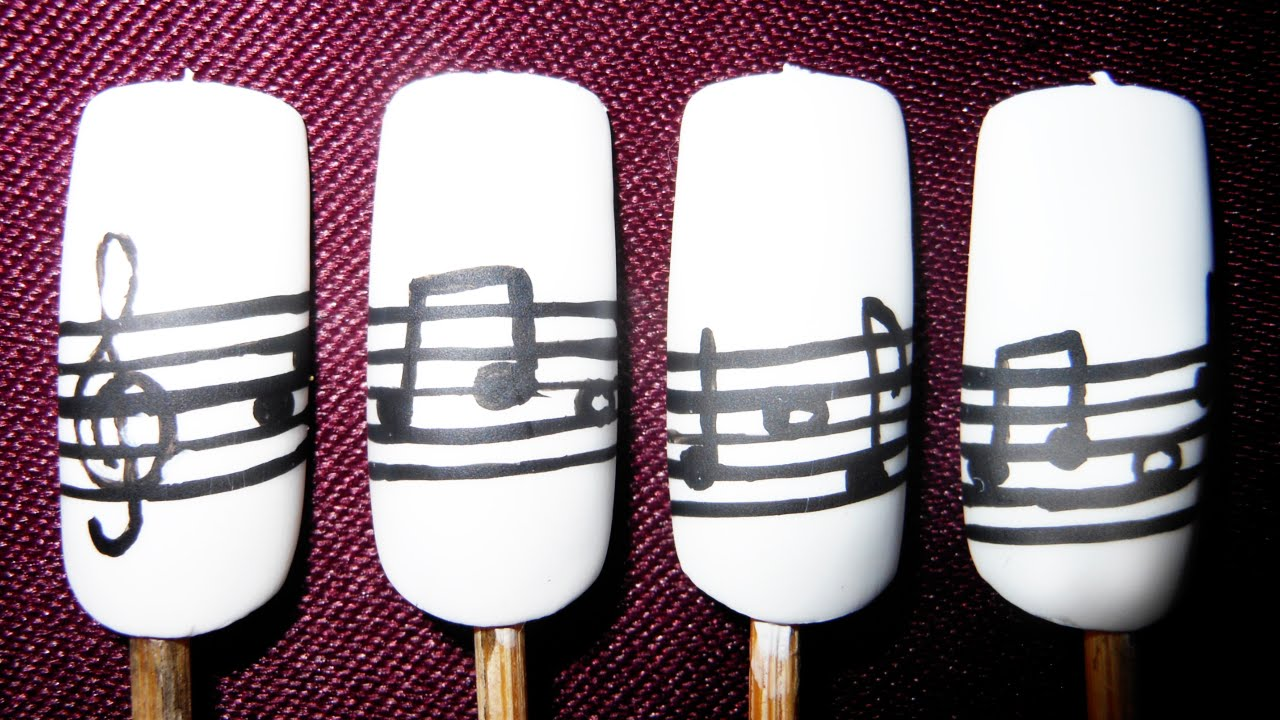 Classic black and white musical notes nail art - YouTube