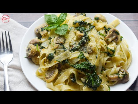 Delicious & Easy To Make Spinach And Mushroom Pasta