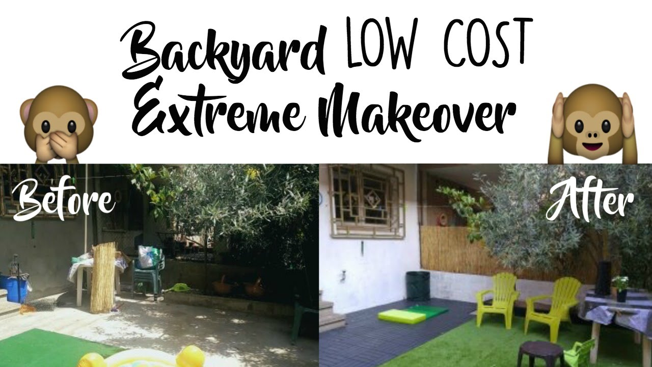 BACKYARD MAKEOVER ON A BUDGET - BEFORE & AFTER - YouTube on Patio Makeovers On A Budget id=46462