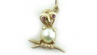 Vintage 14k Yellow Gold Ruby And Pearl Stylized Owl Charm
