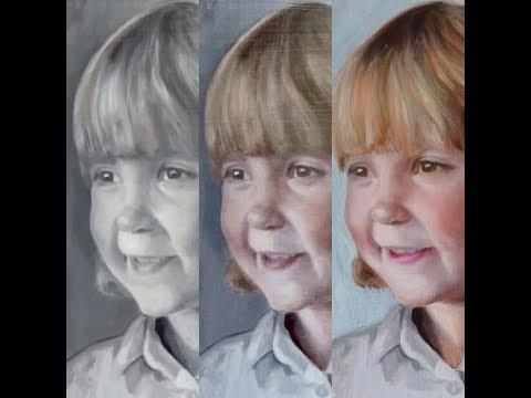 2nd Glaze, portrait painting technique, glazing over grisaille, glazing oil paint, velaturas