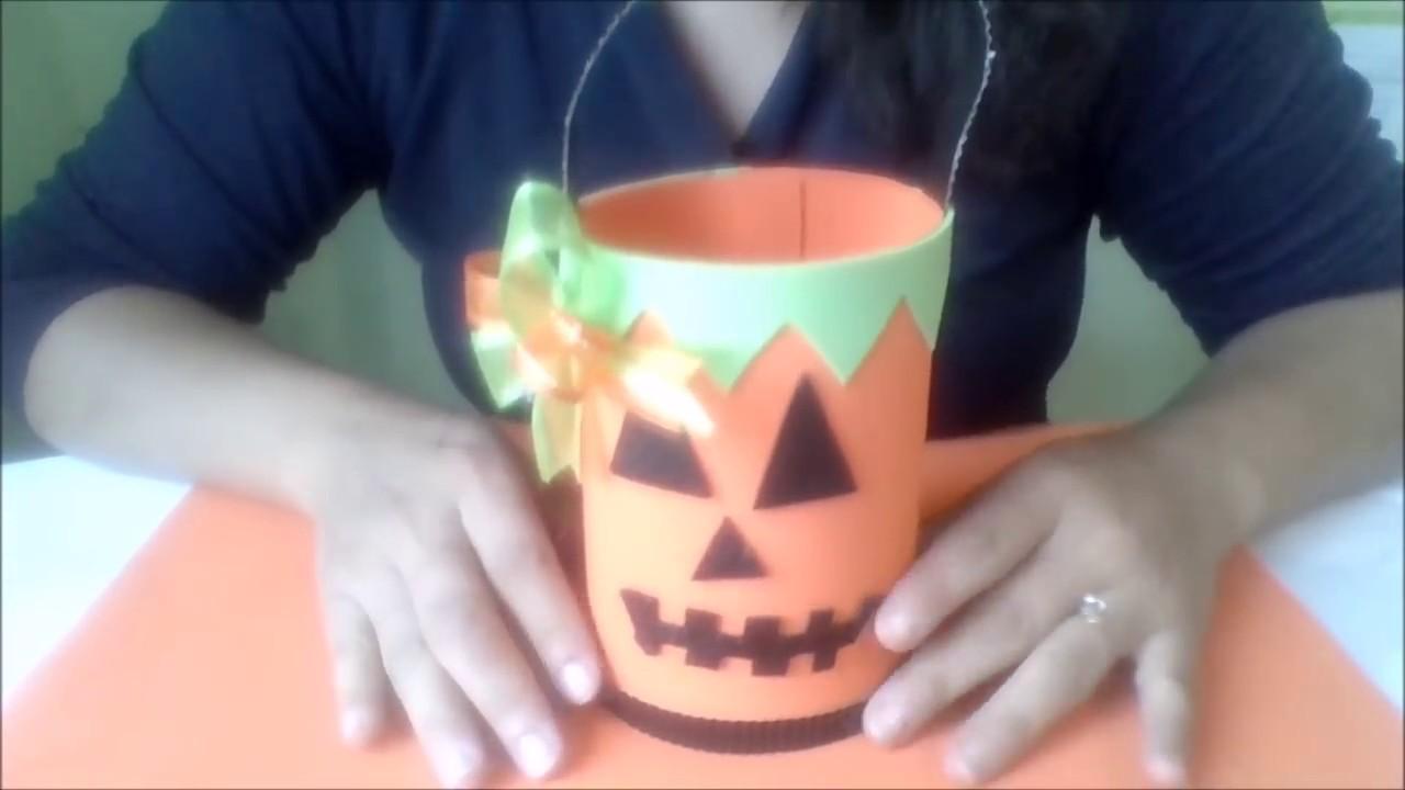 Bolsita de calabaza para dulces en foami halloween - Calabazas de halloween manualidades ...