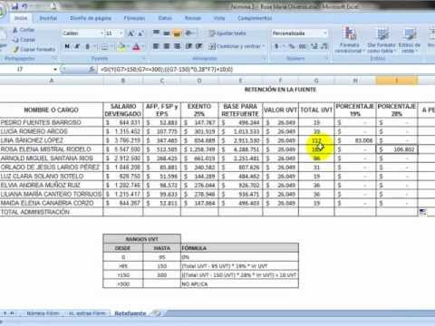 Ms excel 5 f rmulas n mina completa youtube for Calculo nomina semanal excel 2016