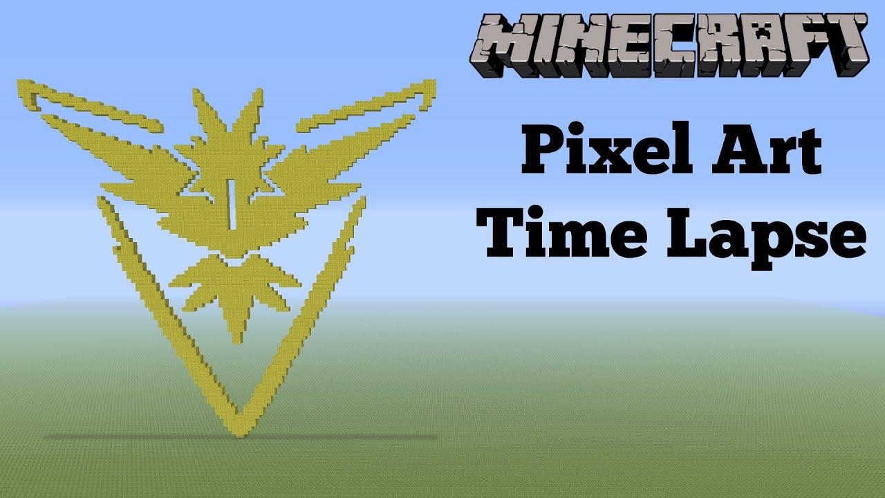 Minecraft pixel art timelapse pokemon go team instinct - Pokemon logo minecraft ...