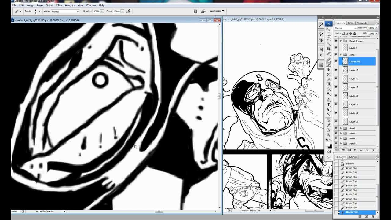 Digitally Inking A Comic Panel in Photoshop - Scribbles with Jonathan