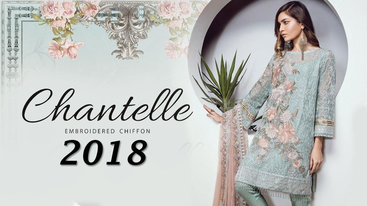 2a3e542ce0 Baroque Chantelle Chiffon Collection 2018 - Le Classique Floral Pakistani  Branded Clothes