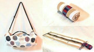 キャラメルポーチの作り方で  折りたたみ ショルダーバッグ作りました。/ Fold-able Shoulder Zipper Bag Tutorial.
