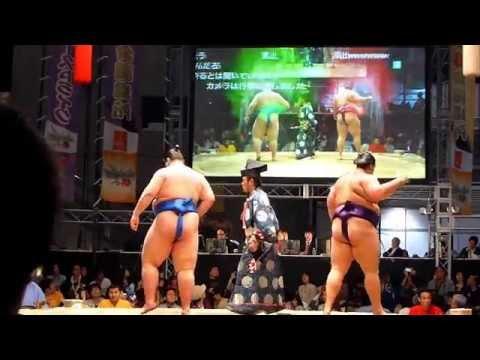 四股で震度6強!?地球も割れた!リアルSUMOU 逸ノ城 vs 魁聖(ニコニコ超会議2015 Grand Sumo Tour in Makuhari 2015 Spring)