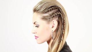 Стильная прическа с эффектом выбритых висков. Stylish Hairstyle with Effect Shaved Temples