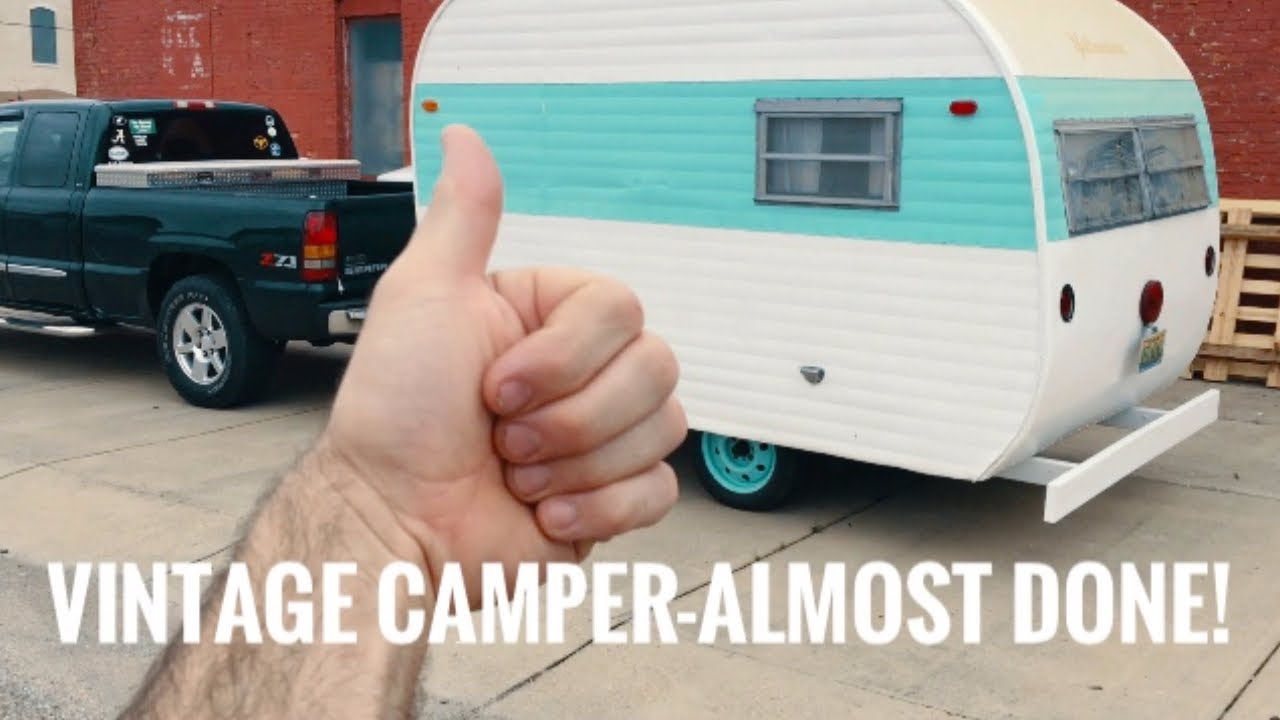 Vintage Camper Restoration -IT'S ALMOST DONE!!! - Restoring a Yellowstone  RV for Farmer's Markets