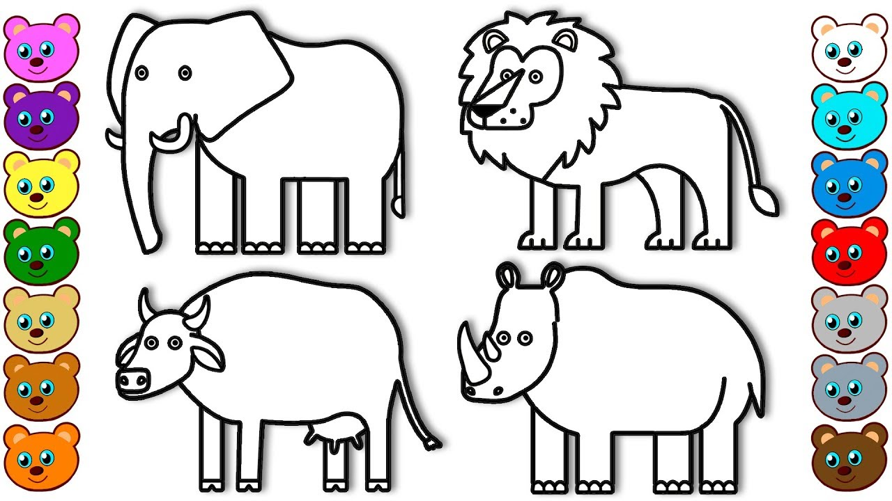Coloring for Kids with Animals of India - Colouring Book ... | animal coloring pages for toddlers