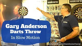 Gary Anderson darts thŗow in slow motion