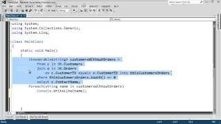 Uses a C# LINQ join into clause to to an outer join and find which ...