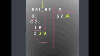 Effectuer une division décimale 1er exemple.