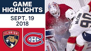 NHL Pre-season Highlights   Panthers vs. Canadiens - Sept. 19, 2018