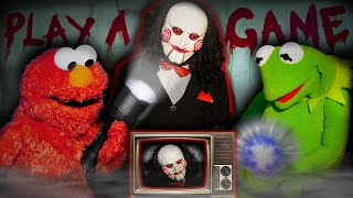 Kermit the Frog and Elmo Play a Game! (Halloween Escape)