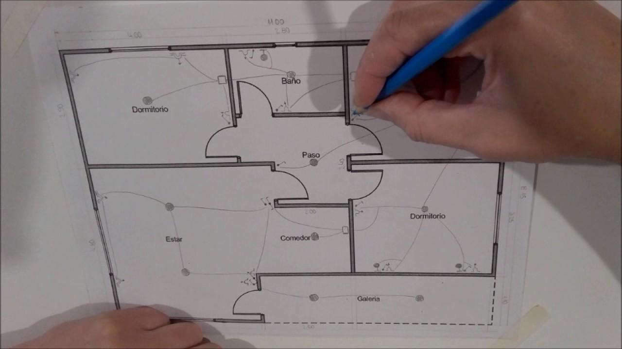 Schema Collegamento Elettroserratura : Circuito unilineal de una casa plano circuitos electricos