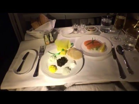 Caviar & Dom Perignom in the Emirates first class suite at 40,000 ft.