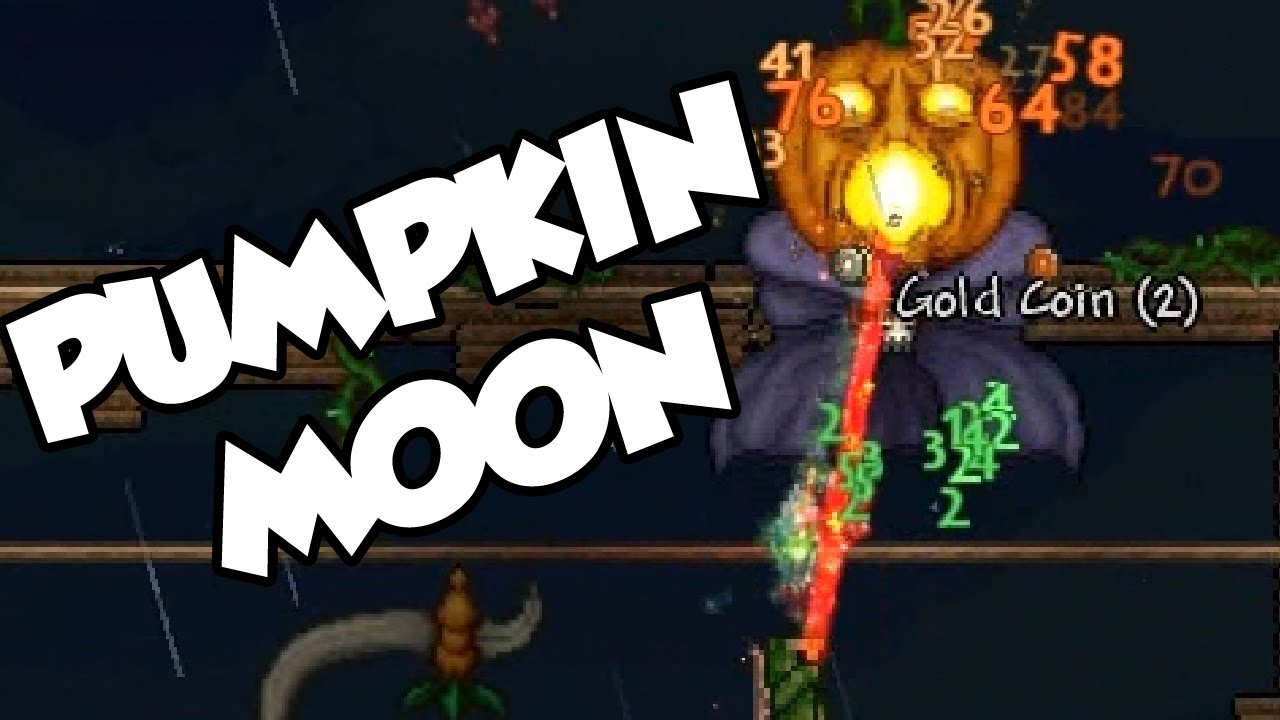 terraria 1.2.1 - pumpkin moon event! - pumpking boss battle