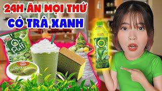CHALLENGE 24H EATING GREEN | GREEN TEA CREAM, MATCHA, BLUE CAKE, ... | SUNNY TRUONG