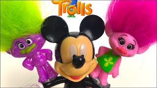 TROLLS COLLECTION PACK WITH MICKEY & MINNIE MOUSE POPPY HIDE & SEEK CLUBHOUSE GIRL TOYS - UNBOXING