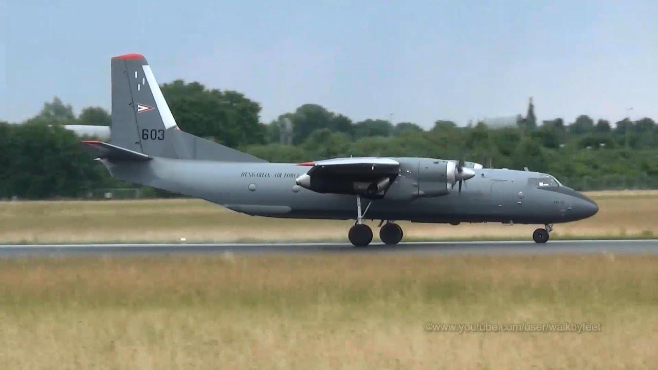 Hungarian Air Force Antonov 26 landing and takeoff at Hamburg Airport