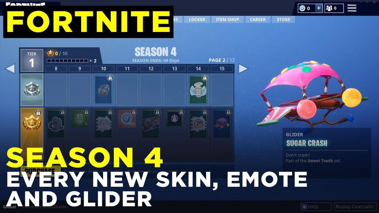 Fortnite Season 4 All Skins Emotes And Gliders Youtube