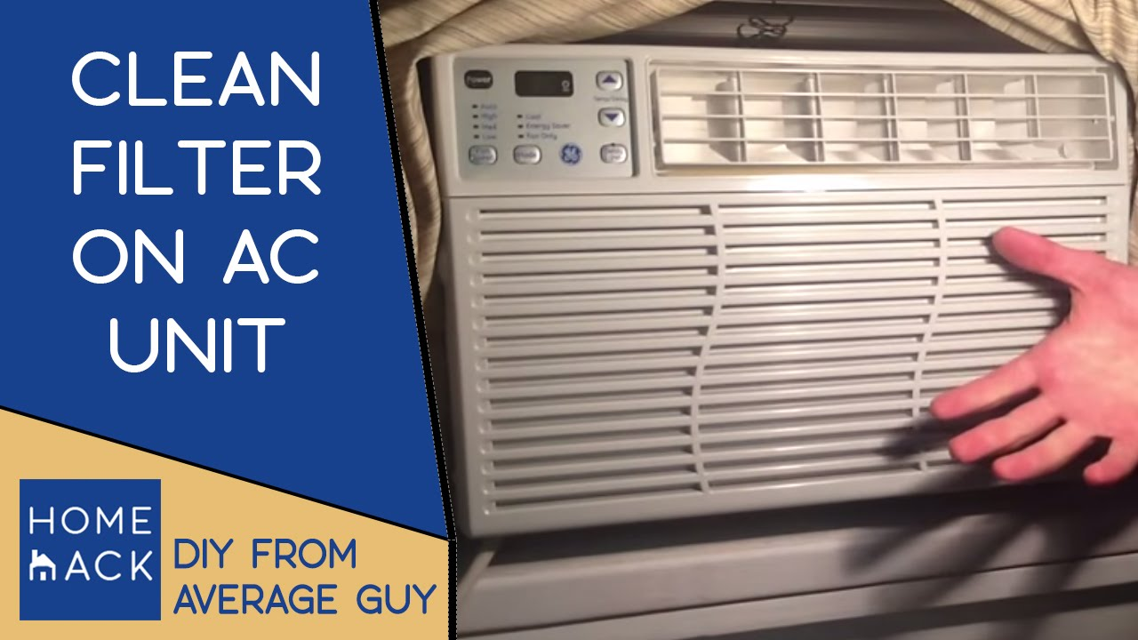 Clean filter on GE Window AC unit cleaning air filter on air